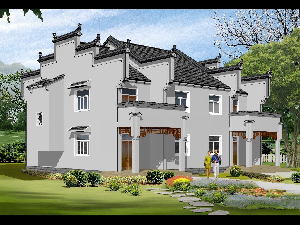 一层新农村房屋设计图--农家乐平面图,立面图,剖面图
