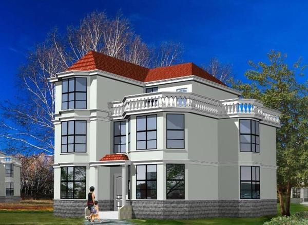 农村三层独栋别墅自建房设计图 电施 结施 建施 带效果图               本户型为农村三层独栋别墅自建房设计图,占地面积129.15平方米,总建筑面积356.0平米,建筑高度9.6米,总建筑高度12.0米。一层设有客厅、卧室、卫生间、餐厅、厨房、工人房、车库;二层设有客厅、4间卧室、2间卫生间;三层设有卧室2间、卫生间2间、露台。   本户型采用坡屋顶,红色英式瓦修饰,外观造型简洁大方,色彩明快,房间尺度设计适宜,空间利用率高。   占地面积10.