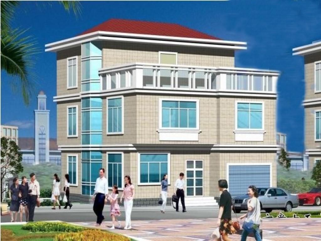 9万经济型三层独栋别墅全套施工图(建筑 结构)(含效果图)半框架半砖混